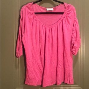 Avenue 3/4 Ruched Sleeved Tee Heather Pink   18/20